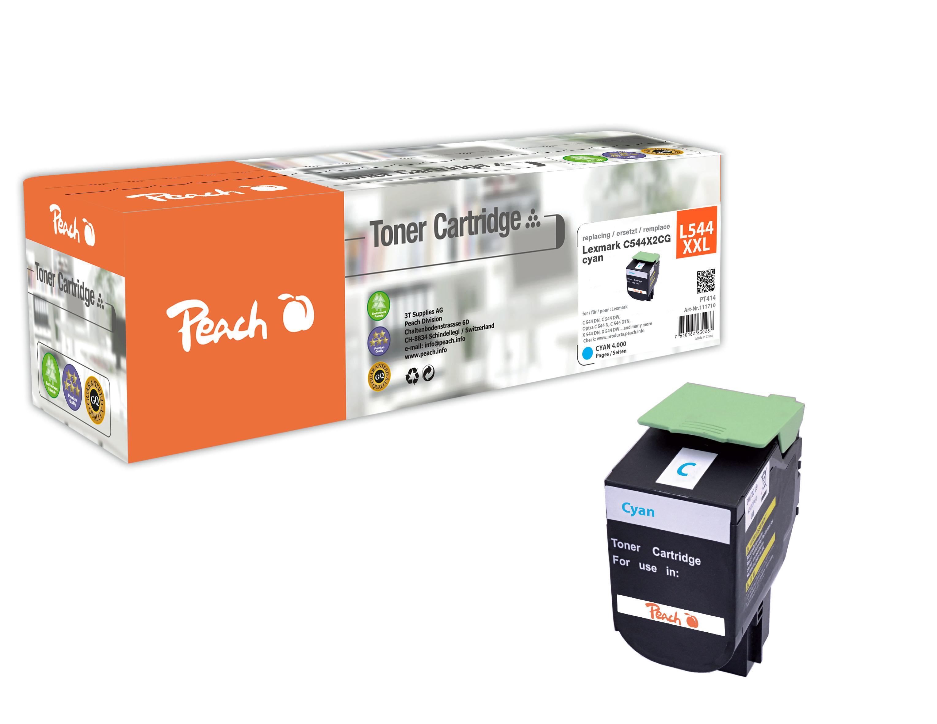 Peach  Tonermodul cyan, kompatibel zu Lexmark C 544 DN