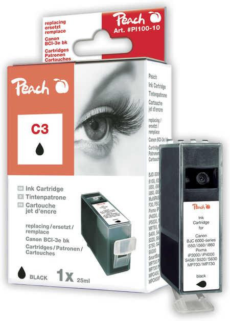Peach  Tintenpatrone schwarz kompatibel zu Canon BJC 6000