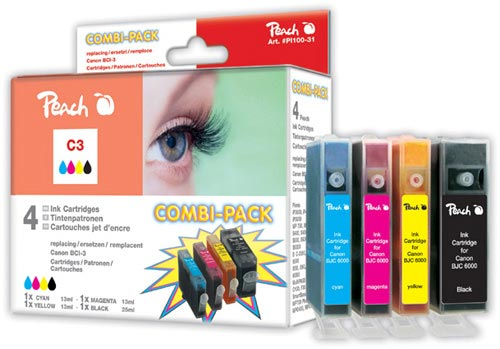 Peach  Spar Pack Tintenpatronen kompatibel zu Canon BJC 6000