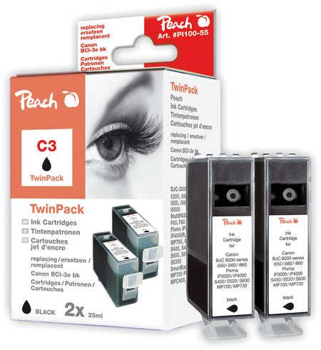 Peach  Twin Pack schwarz kompatibel zu Canon I 560