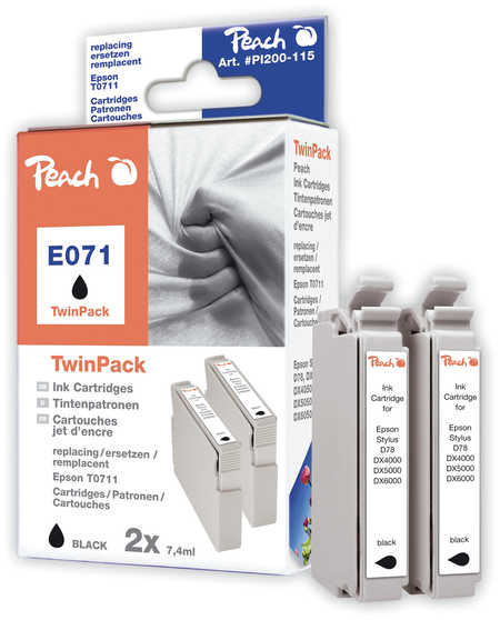 Peach  Doppelpack Tintenpatronen schwarz kompatibel zu Epson Stylus D 78