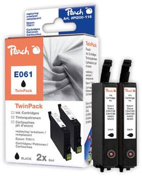 Peach  Doppelpack Tintenpatronen schwarz kompatibel zu Epson Stylus DX 4850