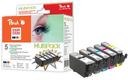 Peach  Spar Pack Tintenpatronen, XL-Ergiebigkeit, kompatibel zu Canon Pixma MG 5150