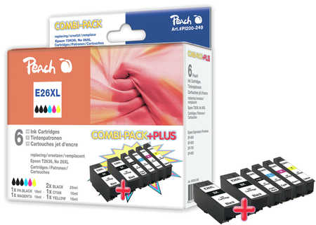 Peach  Spar Pack Plus Tintenpatronen HY kompatibel zu Epson Expression Premium XP-700