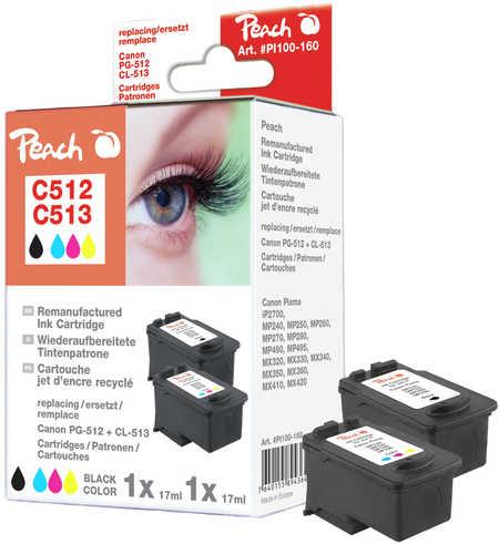 Peach  Spar Pack Druckköpfe kompatibel zu Canon Pixma MP 240