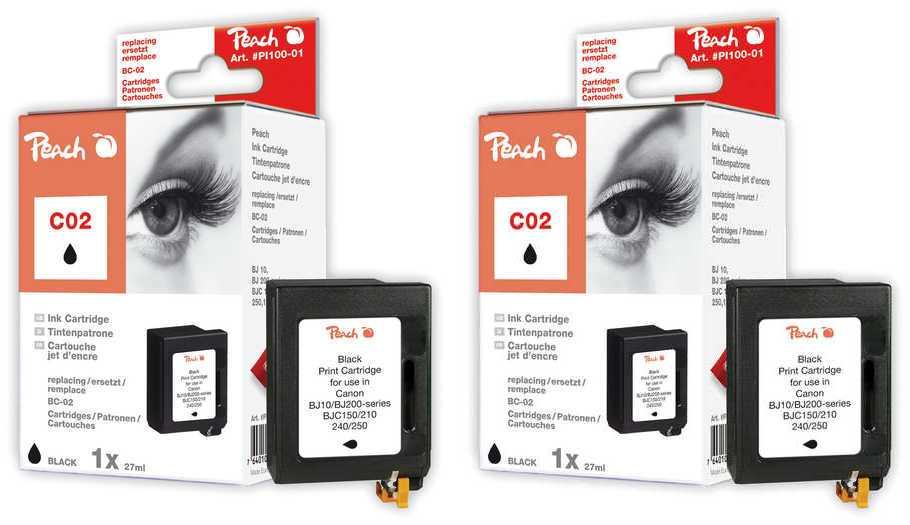 Peach  Doppelpack Druckköpfe schwarz kompatibel zu Brother HJ 400