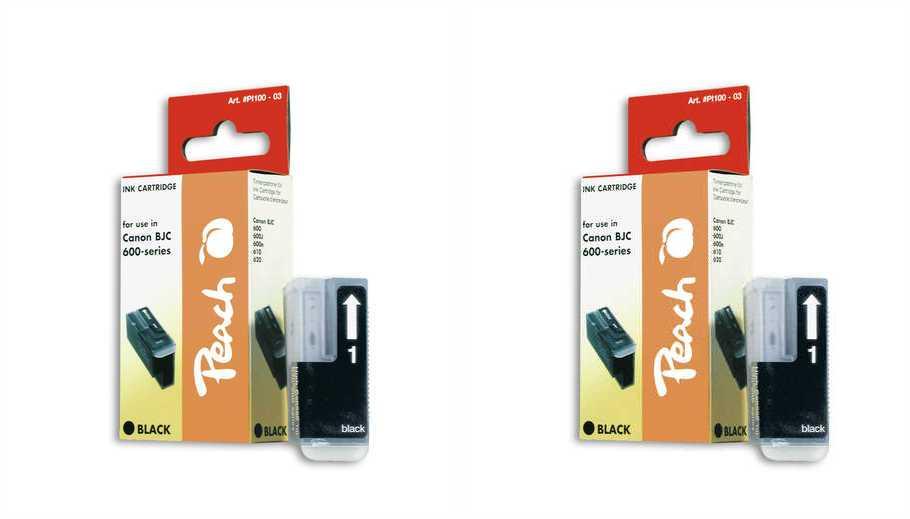 Peach  Doppelpack Tintenpatronen schwarz kompatibel zu Apple Stylewriter Pro Color
