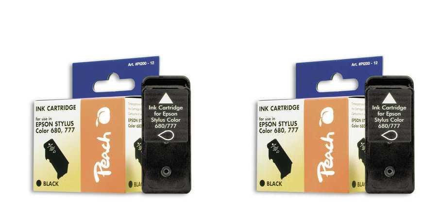 Peach  Doppelpack Tintenpatronen schwarz kompatibel zu Epson Stylus Color 680
