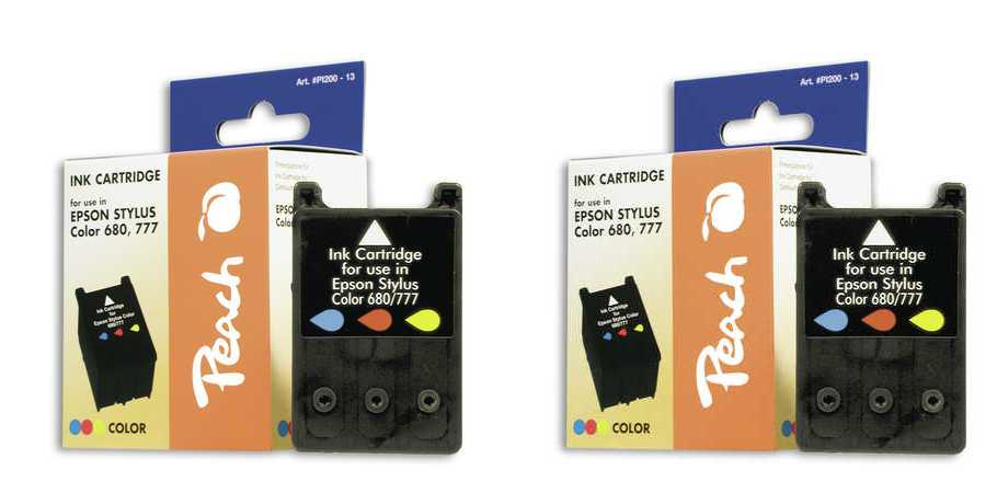 Peach  Doppelpack Tintenpatronen color kompatibel zu Epson Stylus Color 680