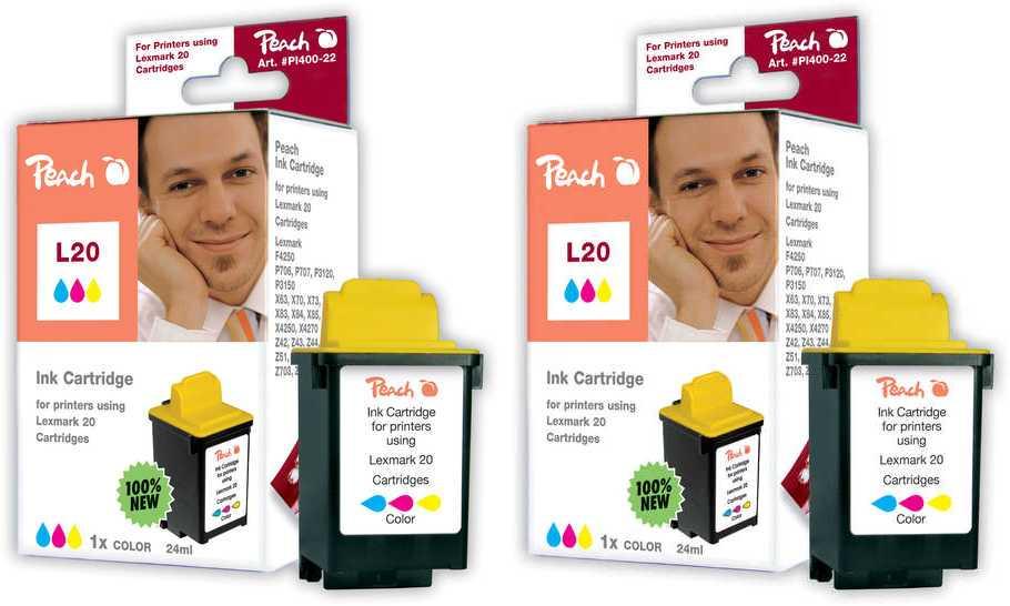 Peach  Doppelpack Druckköpfe color kompatibel zu Lexmark Z 51