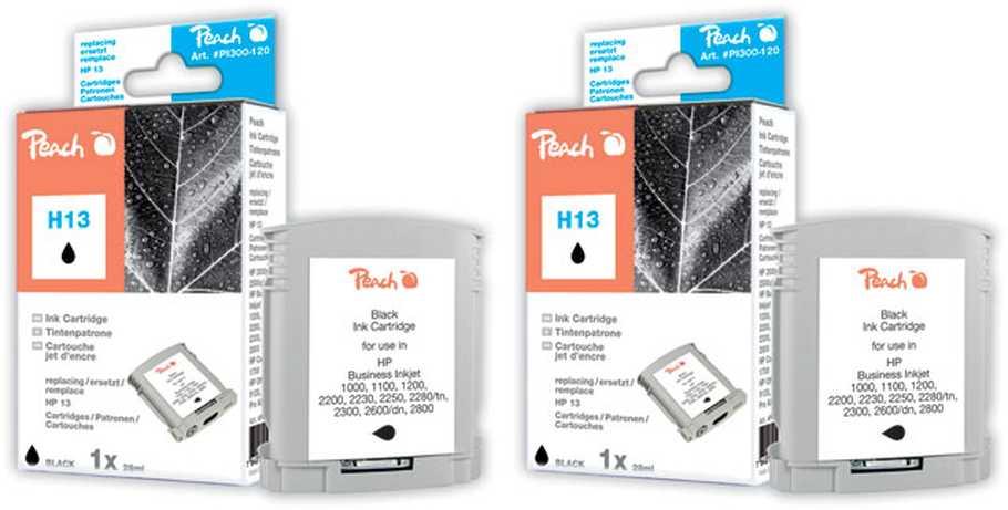 Peach  Doppelpack Tintenpatronen schwarz kompatibel zu HP Business InkJet 1000
