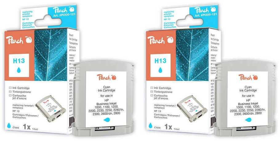 Peach  Doppelpack Tintenpatronen cyan kompatibel zu HP Business InkJet 1000