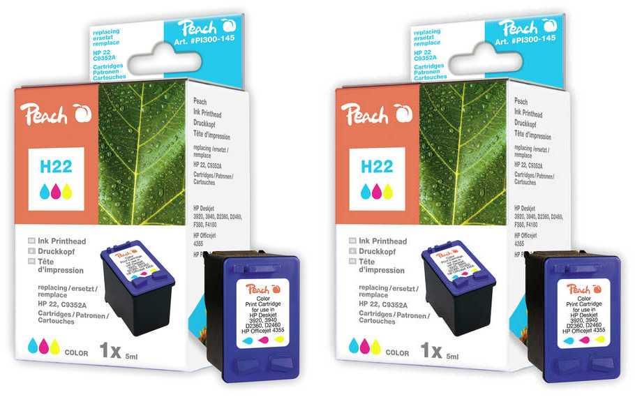 Peach  Doppelpack Druckköpfe color kompatibel zu HP OfficeJet 4625