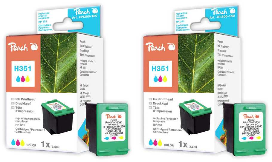 Peach  Doppelpack Druckköpfe color kompatibel zu HP OfficeJet J 6488