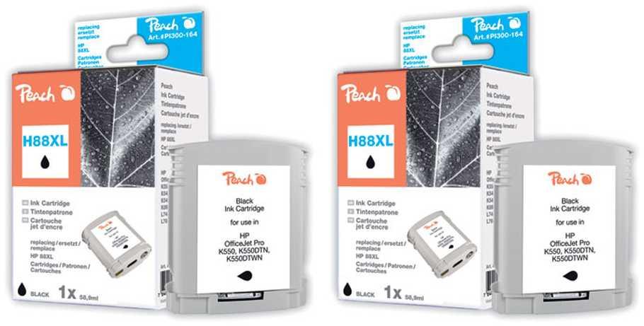 Peach  Doppelpack Tintenpatronen schwarz kompatibel zu HP OfficeJet Pro K 550