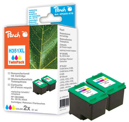 Peach  Doppelpack Druckköpfe color kompatibel zu HP OfficeJet J 5780