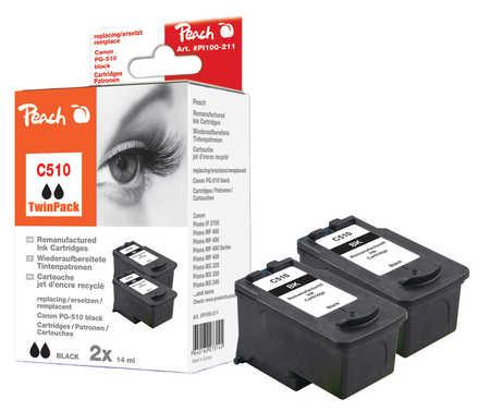 Peach  Doppelpack Druckköpfe schwarz kompatibel zu Canon Pixma MP 240