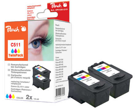 Peach  Doppelpack Druckköpfe color kompatibel zu Canon Pixma MP 495