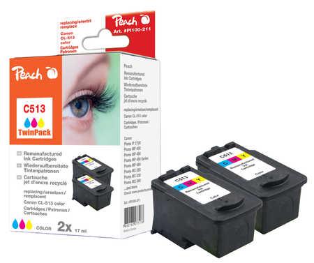 Peach  Doppelpack Druckköpfe color kompatibel zu Canon Pixma MP 240