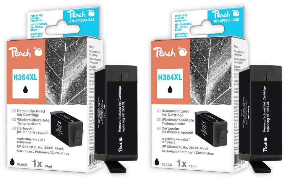 Peach  Doppelpack Tintenpatronen schwarz kompatibel zu HP PhotoSmart C 5390