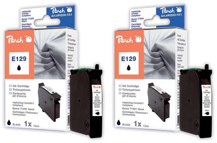 Peach  Doppelpack Tintenpatronen schwarz kompatibel zu Epson Stylus SX 420 W