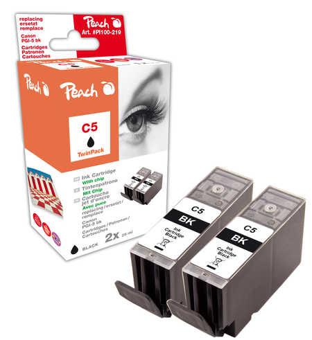 Peach  Doppelpack Tintenpatronen schwarz kompatibel zu Canon Pixma IP 4200